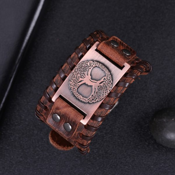 Bracelet manchette en cuir homme marron