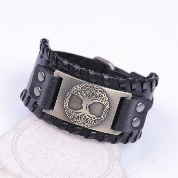 Bracelet manchette en cuir homme noir