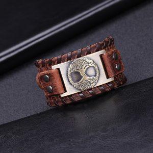 Bracelet manchette en cuir pour homme