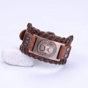 Bracelet manchette en cuir pour homme marron