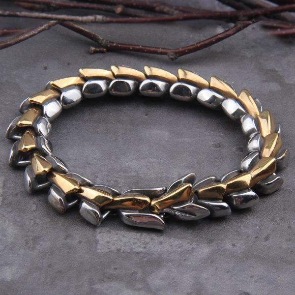 Bracelet ouroboros doré et argenté