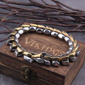 Bracelet ouroboros viking argent et or