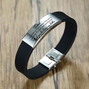 Bracelet papa silicone noir