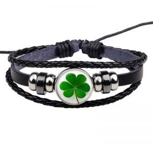 Bracelet porte bonheur trefle 4 feuilles