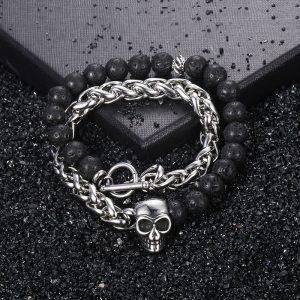 Bracelet pour homme avec pierre de lave tete de mort
