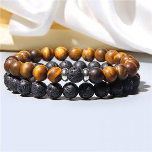 Bracelet pour homme pierre de lave oeil de tigre