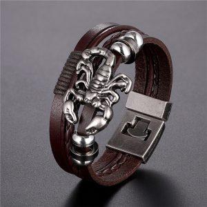 Bracelet signe astrologique scorpion marron