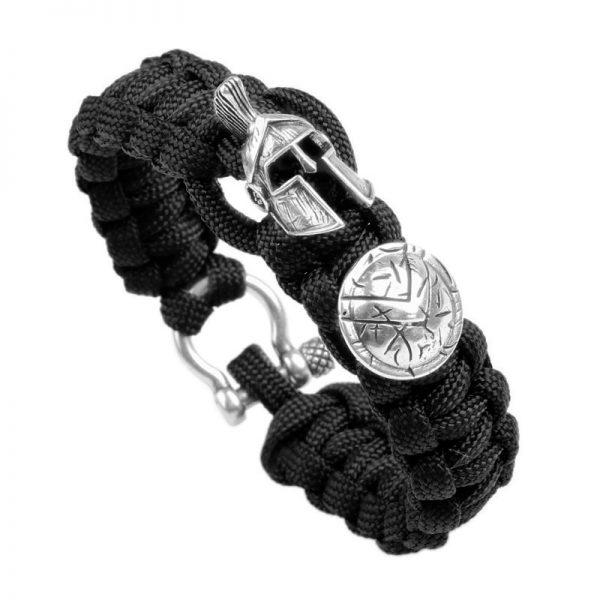 Bracelet spartiate homme noir et argent
