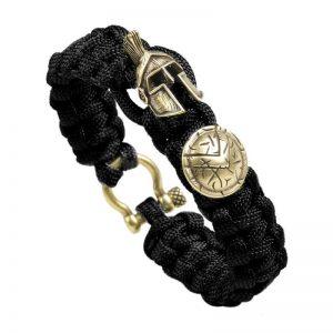 Bracelet spartiate homme noir et or