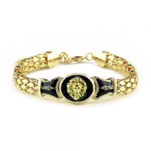 Bracelet tete de lion couleur or