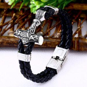 bracelet viking avec tresses en cuir