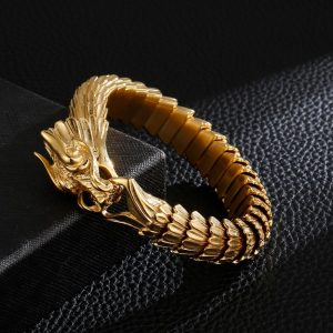 Bracelet viking dragon doré