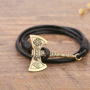 Bracelet viking hache noir
