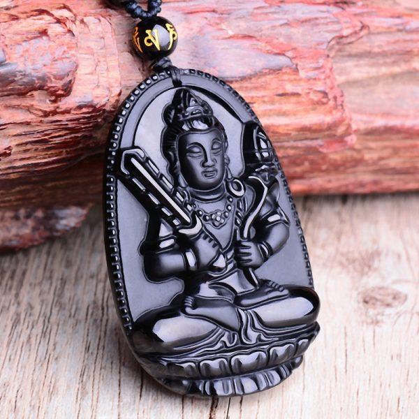 Collier bouddhiste pour homme obsidienne